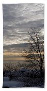 Early Morning Tree Silhouette On Silver Sky Beach Towel