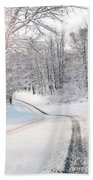 Early Morning Winter Road Beach Towel