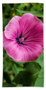 Early Summer Blooms Impressions - Bright Pink Malva - Vertical View Beach Towel