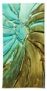 Aqua Teal Brown Organic Abstract Art Beach Towel