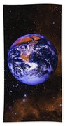 Earth In Space With Gaseous Nebula And Beach Towel