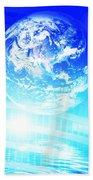 Earth Technology Background Beach Towel by Michal Bednarek