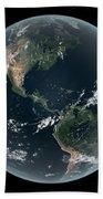 Earths Western Hemisphere With Rise Beach Towel