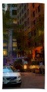 East 44th Street - Rhapsody In Blue And Orange - Close View Beach Towel