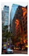 East 44th Street - Rhapsody In Blue And Orange Beach Towel