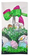 Easter Baskets In A Row  Beach Towel