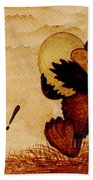 Easter Golden Egg Coffee Painting Beach Towel