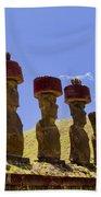 Easter Island Statues  Beach Towel