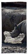 Eastern Black Rhinos Mama N Baby Beach Towel