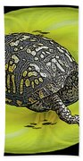 Eastern Box Turtle On Yellow Lily Beach Towel