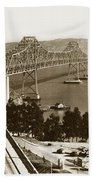 Eastern Span Of San Francisco-  Oakland Bay Bridge Circa 1937 Beach Towel