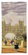 Eastern View Of The Castle And Garden Beach Towel