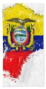 Ecuador Painted Flag Map Beach Towel
