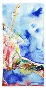 Eddie Van Halen Playing The Guitar.1 Watercolor Portrait Beach Towel