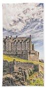 Edinburgh Castle Painting Beach Towel