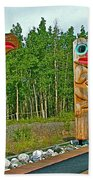 Edward Smarch Totem Poles At Teslin Tlingit Heritage Memorial Center In Teslin-yt Beach Towel