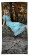 Edwardian Girl On A Stone Wall Beach Towel