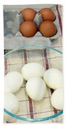 Eggs Boiled And Raw Beach Towel