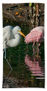 Egret And Pink Spoonbill Beach Towel