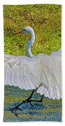Egret Full Wing Span Beach Towel