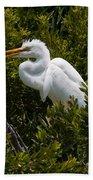 Egret In Bushes Beach Towel