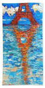 Eiffel Tower Abstract Impression Beach Towel