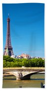 Eiffel Tower And Bridge On Seine River In Paris France Beach Towel