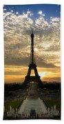 Eiffel Tower At Sunset Beach Towel by Debra and Dave Vanderlaan