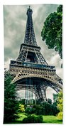 Eiffel Tower In Hdr Beach Towel