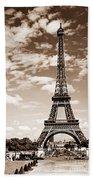 Eiffel Tower In Sepia Beach Towel