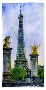 Eiffel Tower Paris Beach Towel