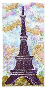 Eiffel Tower Pointillism Beach Sheet