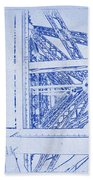 Eiffel Towers Steel Frame Blueprint Beach Towel