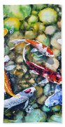 Eight Koi Fish Playing With Bubbles Beach Towel
