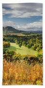 Eildon Hills In Autumn Beach Towel