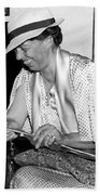 Eleanor Roosevelt Knitting Beach Towel by Underwood Archives