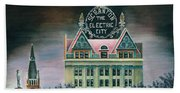 Electric City At Night Beach Towel