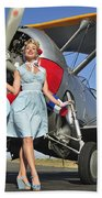 Elegant 1940s Style Pin-up Girl Beach Towel