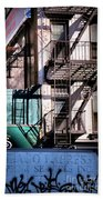 Elemental City - Fire Escape Graffiti Brownstone Beach Towel