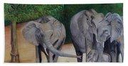Elephant Family Gathering Beach Towel