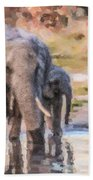 Elephant Mother And Calf Beach Towel