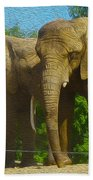Elephant Snuggle Beach Towel