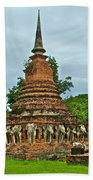 Elephant Stupa At Wat Sarasak In Sukhothai Historical Park-thailand Beach Towel