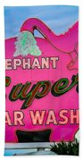Elephant Super Car Wash Beach Towel