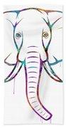 Elephant Watercolors - White Background Beach Towel