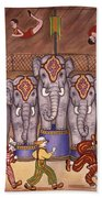 Elephants And Acrobats Beach Towel