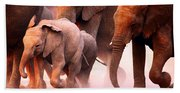 Elephants Stampede Beach Towel