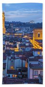 Elevated Night View Of Central Florence Beach Towel