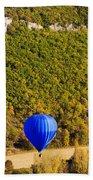 Elevated View Of Hot Air Balloon Beach Sheet