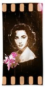Elizabeth Taylor - Pink Film Beach Towel by Absinthe Art By Michelle LeAnn Scott